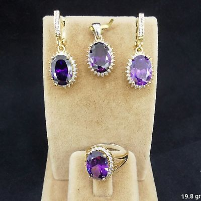 Gorgeous,AAA Quality Uruguay Amethyst 925 Sterling Silver Jewelry Full Set