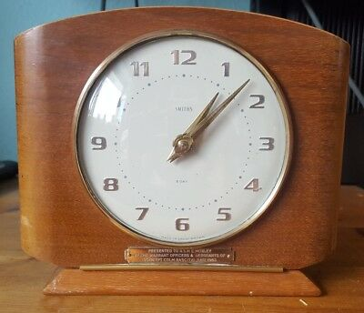 Unique Vintage Smiths' 8 Day Wind up Mantel Clock. Presented to Eric Morley RASC