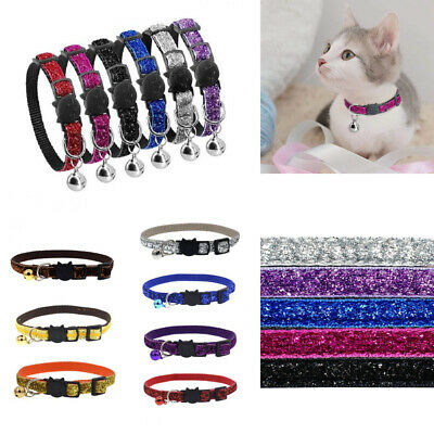 UK SEQUIN GLITTER CAT COLLAR Bell Safety Release Breakaway Kitten Puppy Pet Gift