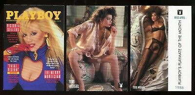3 PLAYBOY 1995 RETRO CARDS #97,98 & #99 Miss April 1986 TERI WEIGEL