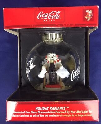 Coca Cola Holiday Radiance Illuminated Globe Christmas Ornament Polar Bear-NEW