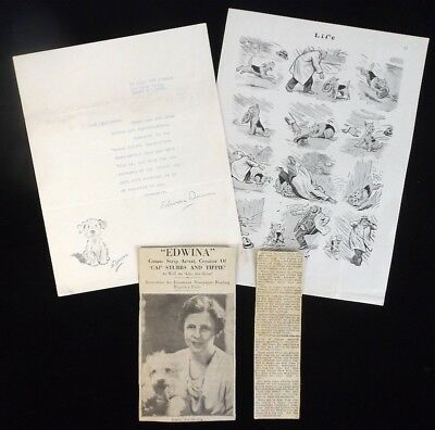 1936 Original Edwina Dumm Newspaper Cartoon Illustration Sinbad Dog w/ Ephemera