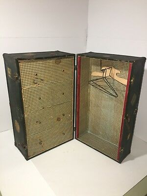 Vintage Doll Clothes Steamer Travel Trunk Metal Suit Case W/ Hangers & Drawers