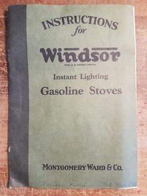 1930 Instructions for Windsor Instant Gasoline Stoves Montgomery Ward Co