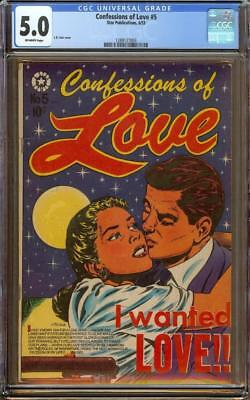 Confessions of Love #5 CGC 5.0 OW - Classic L.B. Cole Romance Cover - Star 1953