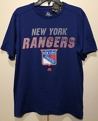 0ccee223e NWT New York Rangers Men s Polyester T-Shirt NHL Hockey Tee Shirt Blue Sz  Medium