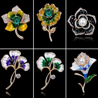 Charm Pearl Flower Guitar Rhinestone Crystal Brooch Pin Women Jewelry Party New