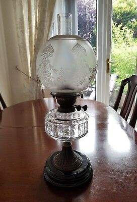 Antique Oil Lamp With Glass Font ,etched Shade &  Ceramic Base