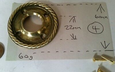 LARGE Cast Brass BACK PLATE for WOOD brass GLASS door knobs  C1910 60mmx 22mm  4