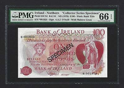 1978 Northern Ireland 100 Pounds Bank of Ireland Specimen PMG 66 EPQ UNC P-64cs1