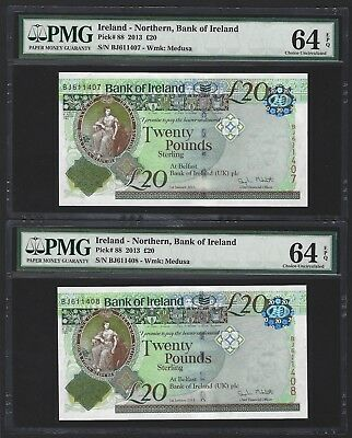 2013 Northern Ireland 20 Pounds Bank of Ireland, PMG 64 EPQ UNC, 2x Pair, P-88