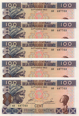 LOT, Guinea 100 Francs (2012) p35b x 5 PCS UNC