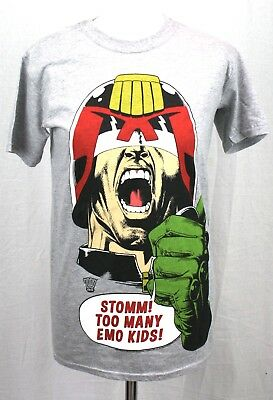 Official 2000AD Judge Dredd - Stomm! Too Many Emo Kids! T-shirt - Size S