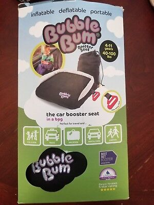 """New Bubble Bum Car Seat Booster In Bag """"BLACK"""" Inflatable Portable New In box"""