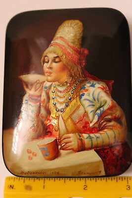 Vintage Russian Lacquer Box Fedoskino Hand Painted Box 'Drinking Tea' 1999