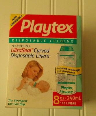 Vintage Playtex 8 oz UltraSeal Curved Disposable Bottle Liners NIB Made in USA