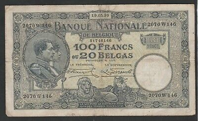 100 Francs From Belgium 1930