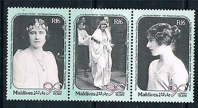 Maldive Is 1990 Queen Mother 90th Birthday 3v strip SG 1396a MNH