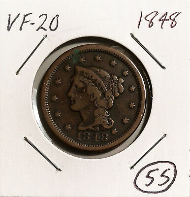 1848 1c Braided Hair Large Cent VF No Minimum