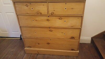 Original large Victorian Pine Chest of Drawers. Needs repair so starting at 99p.