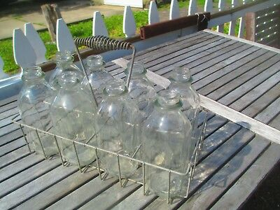 Vtg Antique Milk Man 8 Quart Bottle Carrier Country Store Oil Gas Station