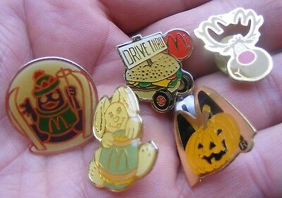 Lot 5 1990s Mcdonalds Vintage Uniform Enamel Button Pins - Easter Christmas Etc