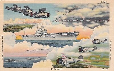 U.S. NAVY aircraft carrier and planes series CURT TEICH 1940s  MILITARY postcard