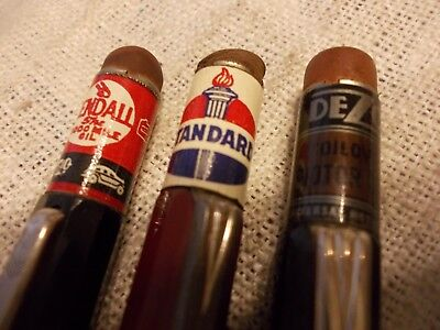 "Vintage Lot Of 3 Advertising ""can Top"" Gas/oil Autopoint Mechanical Pencils !!"