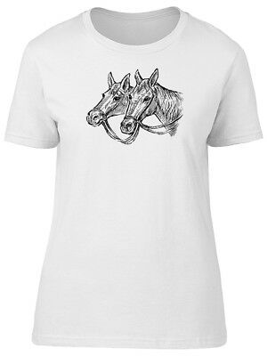 Two Horses Hand Drawn Women's Tee -Image by Shutterstock