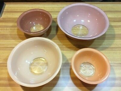 Vintage Pyrex Nesting Bowls Clear Bottom Two Tone Bowls - Full Set Of Four!!!
