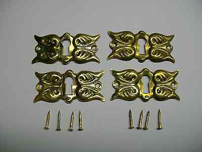 Victorian Brass Keyhole Escutcheons - Matched Set of 4