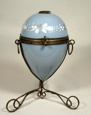 Antique Glass Egg Brass Stand Etui Hand Painted Palais Royal French for Vanity