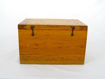 Vintage Wooden Dovetailed Industrial Box Golden Oak Brass Hinges Solid Quality