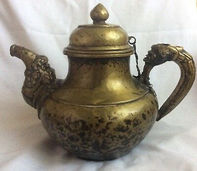Antique Asian Mongolian Brass Teapot Teakettle 19th C