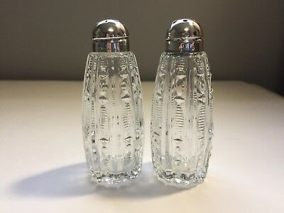 Vintage Clear Glass Salt & Pepper Shakers Sterling Silver Tops