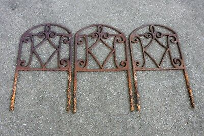 "3 Vintage Ornate Cast Iron Garden Border Fence Sections 9 1/4"" Estate Salvage"