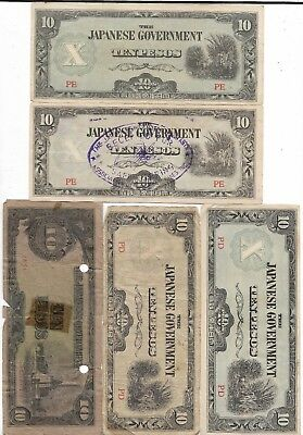 Rare Very Old Japanese WWII Japan War Dollar Art Note 5 Peso Vinatge Collection