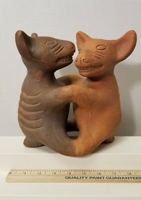 Dancing Dogs Of Colima Statue Mexican Hairless Dog Clay or Pottery marked Mexico