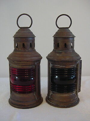 Pair Of Vintage Perko Brass Ship / Boat OIL Lanterns Red Port / Green Starboard