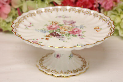 "Beautiful, Crown Staffordshire, ""England's Bouquet"" Footed Compote"