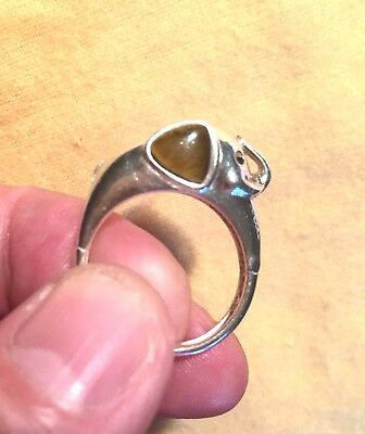 Vintage Sterling Silver Elephant Ring Tigereye Republican Trunk Up Good Luck S 9