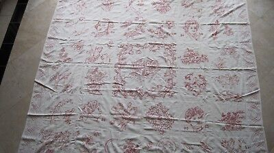 """Turkey Red embroidery coverlet, 74""""X75"""""""