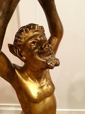 """48"""" Victorian Italian Carved Figural Satyr Pedestal/Plant Stand,Gold Gilt Finish"""