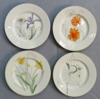 Set 4 Block Spal Watercolors Bread Plates : Hillside, Daffodil, Poppy, Trillium
