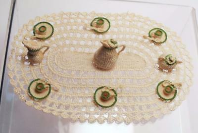 Vintage Artisan Dollhouse Finely Crocheted Coffee Set on Crocheted Tablecloth