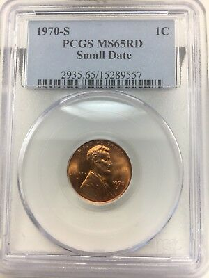 1970s Lincoln Memorial Cent.Small Date Rare Graded By. PCGS MS 65 Red $$$$$$$$$$