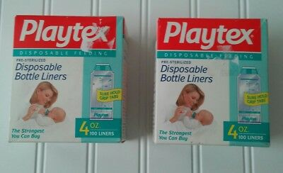 Playtex 4 oz Standard Pre-Sterilized Disposable Bottle Liners 100 Count New x2