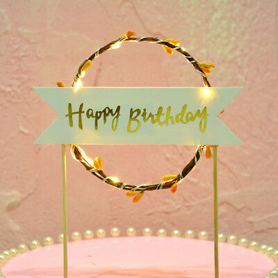 Romantic LED Happy Birthday Cake Toppers Party I Love You Wedding Cupcake Decor