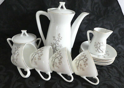 Vintage Original Japanese Porcelain Chocolate Tea Set Spring Oak Japan Design