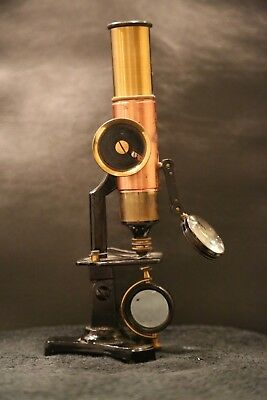 19th Century French Antique Student Microscope Brass Copper Rare Magnifying Lens